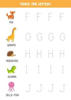 Trace letters of english alphabet. cute animal alphabet. handwriting practice for preschool kids.