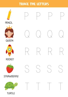 Trace letters of english alphabet. handwriting practice for preschool kids.