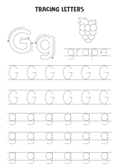 Trace letters of english alphabet. uppercase and lowercase g. handwriting practice for preschool kids.