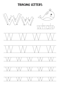 Trace letters of english alphabet. uppercase and lowercase w. handwriting practice for preschool kids.
