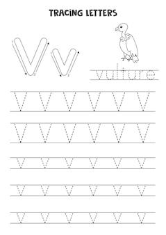영어 알파벳의 문자를 추적합니다. 대문자와 소문자 v. 미취학 아동을 위한 필기 연습.