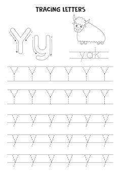 영어 알파벳의 문자를 추적합니다. 대문자 및 소문자 y. 미취학 아동을 위한 필기 연습.
