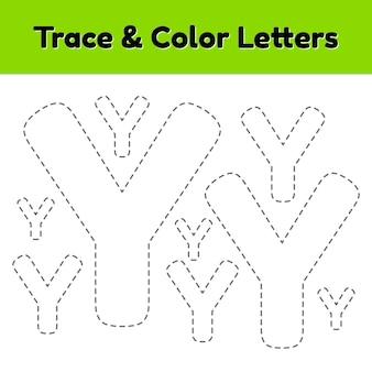 Трассировка письма для детского сада и дошкольников. напишите и раскрасьте y. векторные иллюстрации