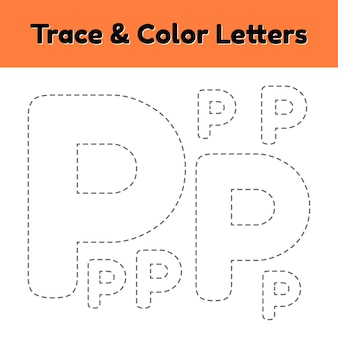 Trace line letter for kindergarten and preshool kids. write and color p.