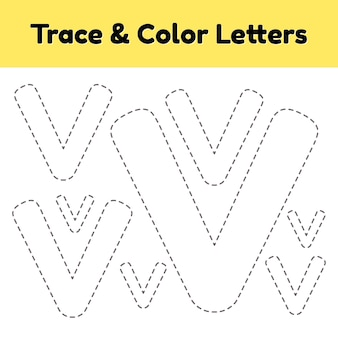 Trace line letter for kindergarten and preshool kids. write and color v.
