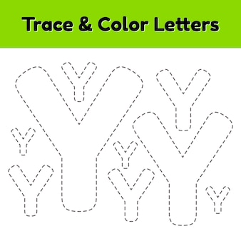 Trace line letter for kindergarten and preshool kids. write and color y. vector illustration.