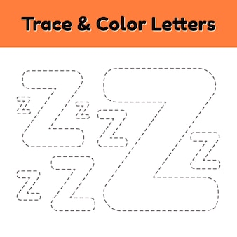 Trace line letter for kindergarten and preshool kids. write and color z.