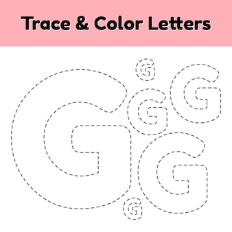 Trace line letter for kindergarten and preshool kids. write and color.