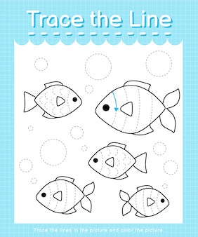 Trace the line: trace following the dashed lines and color the picture - fishes