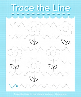 Trace the line: trace following the dashed lines and color the picture - flowers