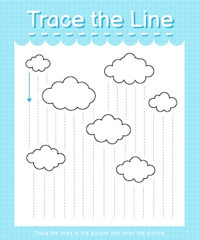 Trace the line: trace following the dashed lines and color the picture - raining