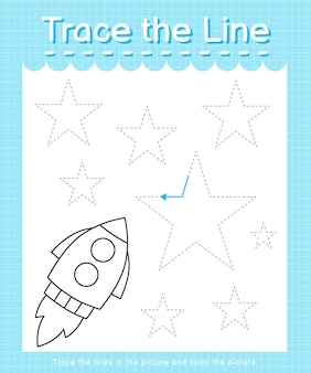 Trace the line: trace following the dashed lines and color the picture - rocket
