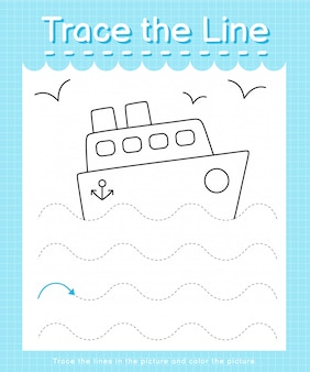 Trace the line: trace following the dashed lines and color the picture - ship
