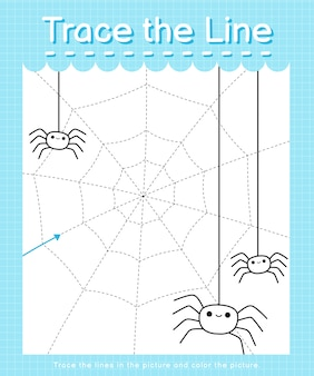 Trace the line: trace following the dashed lines and color the picture - spiders web