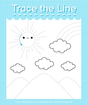 Trace the line: trace following the dashed lines and color the picture - sunshine