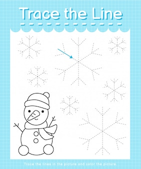 Trace the line: trace following the dashed lines and color the picture - winter