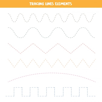 Trace the lines. elements for children worksheets.