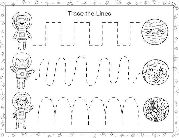 Trace lines from cute animals astronauts to the planets black and white activity page for kids