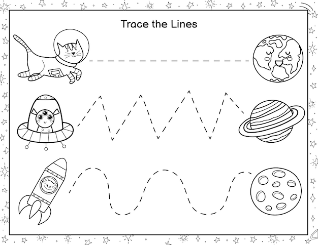 Trace lines from cute astronauts to the planets coloring activity page for kids handwriting