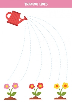 Trace the lines between watering can and flowers.