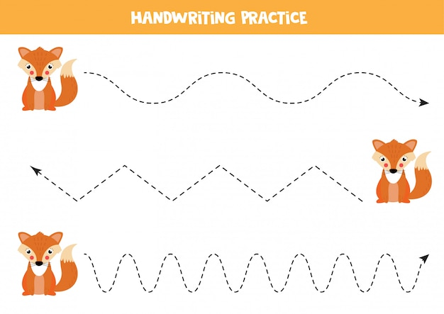 Trace the lines with cute fox. educational worksheet for children.