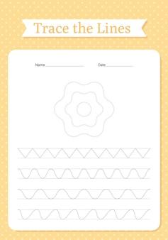 추적 라인 워크 시트. 어린이 통합 문서에 대한 손 추적. 아이들을위한 교육 작문 연습.