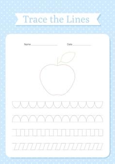 Рабочий лист линий трассировки. отслеживание рук для детей. практика написания детской рабочей тетради.