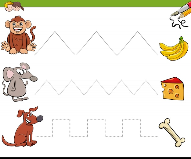 Trace lines writting skills workbook for children