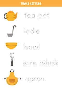 Trace the names of kitchen utensils. handwriting practice for preschool kids.