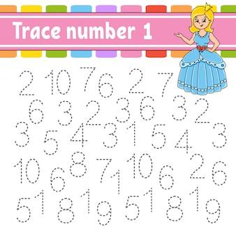 トレース番号1.手書きの練習。子供のための学習番号。