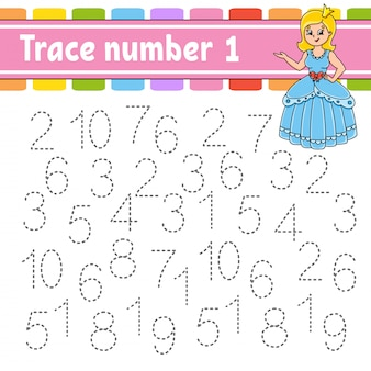 Trace number 1. handwriting practice. learning numbers for kids.
