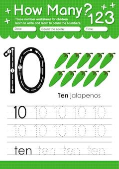과일 및 야채 할라피뇨가 포함된 유치원 및 미취학 아동을 위한 추적 번호 10 워크시트