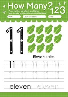 과일 및 야채 케일이 있는 유치원 및 미취학 아동을 위한 추적 번호 11 워크시트