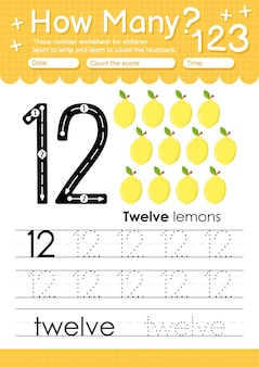 과일과 야채 레몬이 있는 유치원 및 미취학 아동을 위한 추적 번호 12 워크시트