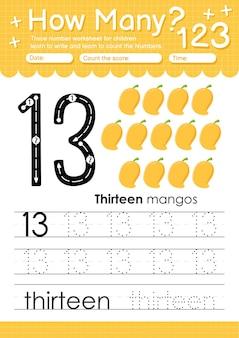 Trace number 13 worksheet for kindergarten and preschool kids with fruits and vegetables mango