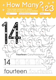 Trace number 14 worksheet for kindergarten and preshool kids