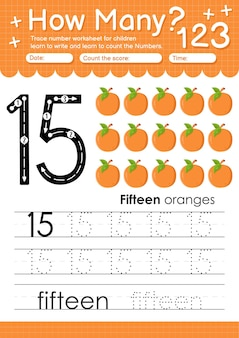 과일 및 야채 오렌지가 포함된 유치원 및 미취학 아동을 위한 추적 번호 15 워크시트
