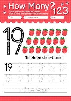 과일과 야채 딸기가 있는 유치원 및 미취학 아동을 위한 추적 번호 19 워크시트