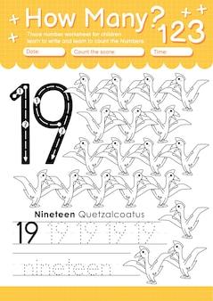 Trace number 19 worksheet for kindergarten and preshool kids