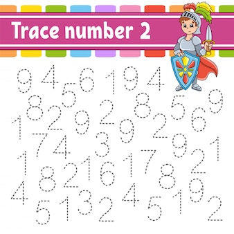 Trace number 2. handwriting practice. learning numbers for kids.