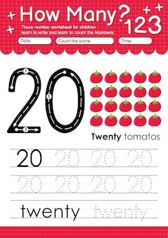 과일과 야채 토마토가 있는 유치원 및 미취학 아동을 위한 추적 번호 20 워크시트