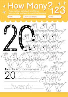 Trace number 20 worksheet for kindergarten and preshool kids