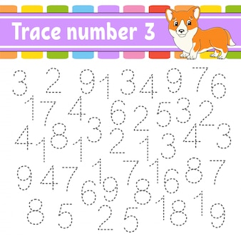 Trace number 3. handwriting practice. learning numbers for kids.