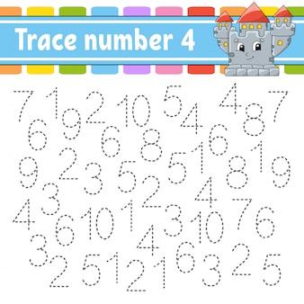 トレース番号4。手書きの練習。子供のための学習番号。