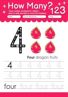 과일 및 야채 용 과일이 포함된 유치원 및 미취학 아동을 위한 추적 번호 4 워크시트