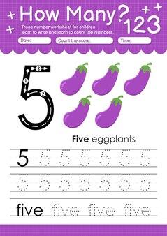 과일과 야채 가지가 있는 유치원 및 미취학 아동을 위한 추적 번호 5 워크시트
