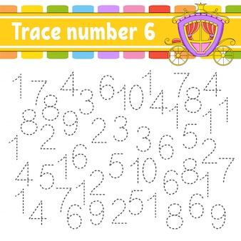 トレース番号6。手書きの練習。子供のための学習番号。