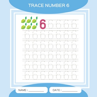 Trace number 6. six. children educational game. activity for early years. preschool worksheet for practicing fine motor skills.