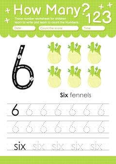 과일 및 야채 회향이 포함된 유치원 및 미취학 아동을 위한 추적 번호 6 워크시트