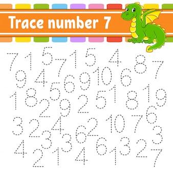 トレース番号7。手書き練習。子供のための学習番号。